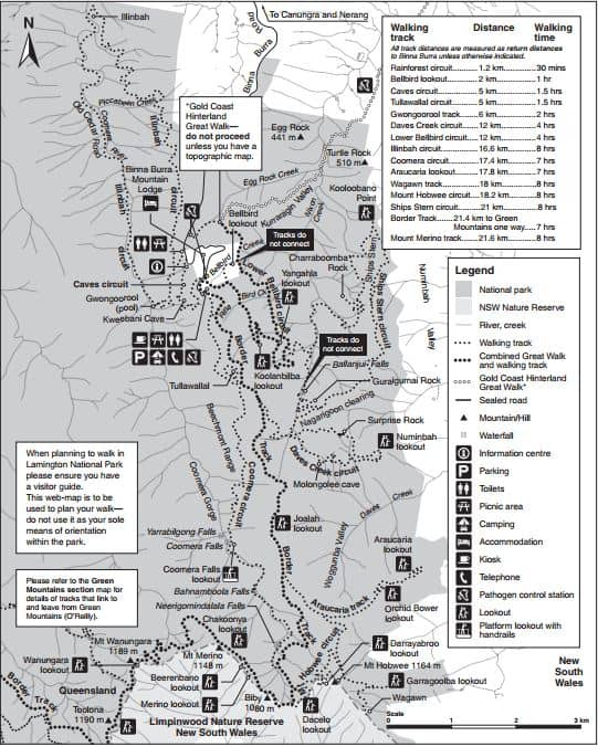 Lamington National Park Binna Burra Map
