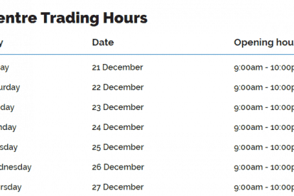 Paradise Centre Christmas Trading Hours