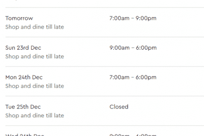 Westfield Helensvale Christmas Trading Hours