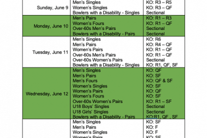 2019 SCHEDULE OF PLAY